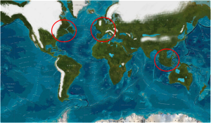 Ice Age Sea Levels. Notice the landmasses near Indonesia, North America and Europe.